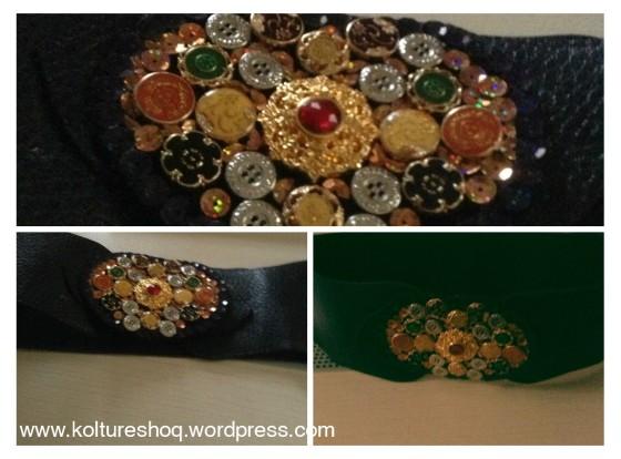 DIY Sequin & Buttons Belt 3